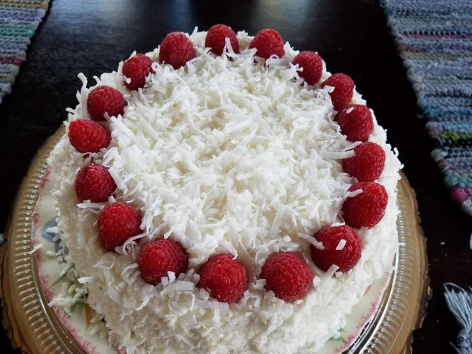 This Is The Finished Cake It Two Layers Of Sponge Also Called Genoise With A Filling Homemade Lemon Curd That Has Fresh Raspberries And